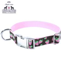 DOG COLLAR - PINK STRAWBERRIES ON CHOCOLATE BROWN